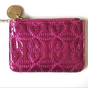 Deux Lux Pink Quilted Heart Glitter Coin Purse
